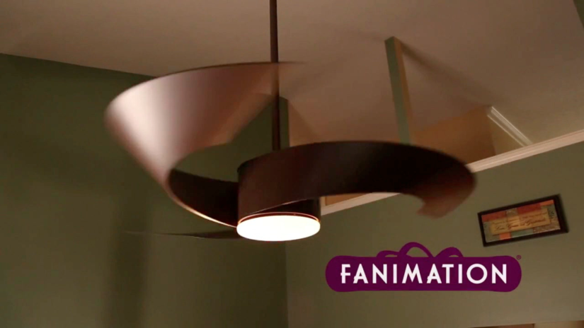 Photograph of a modern wooden ceiling fan with Fanimation logo.