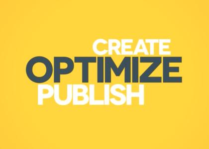 Graphic design image Create Optimize Publish.