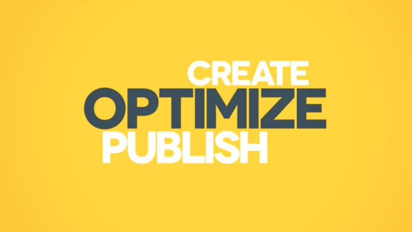 Graphic design image Create Optimize Publish.
