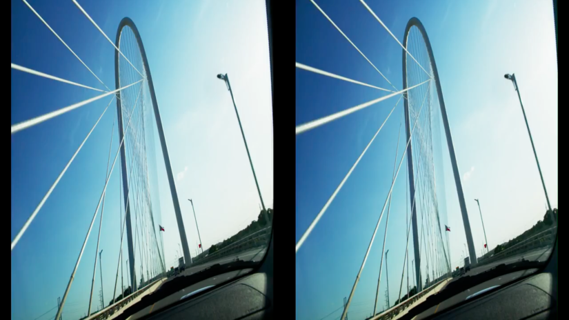 Photographic duplicate images of a car crossing a bridge.