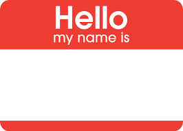 This is the graphic design image of a stick on name tag.