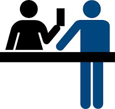 Graphic design image of stick figure people conducting a business transaction.