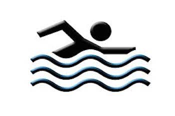 This is a graphic design image of a person swimming.