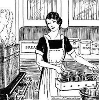 This is a black and white drawing of a woman canning food in a kitchen.