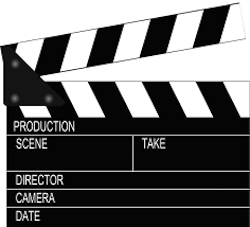 This is a graphic design image of a film production clap board.