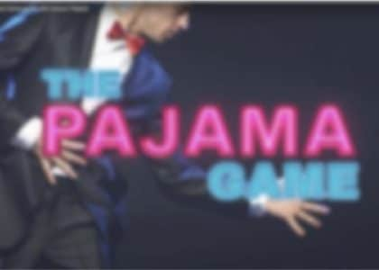 This is a picture of a male dancer from the Pajama Game musical theatre poster.
